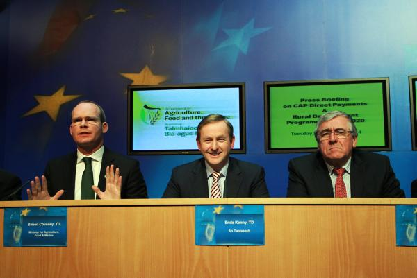 Minsiter for Agriculture Simon Coveney, An Taoiseach Enda Kenny and Minister of State Tom Hayes at the rural development funding announcement.