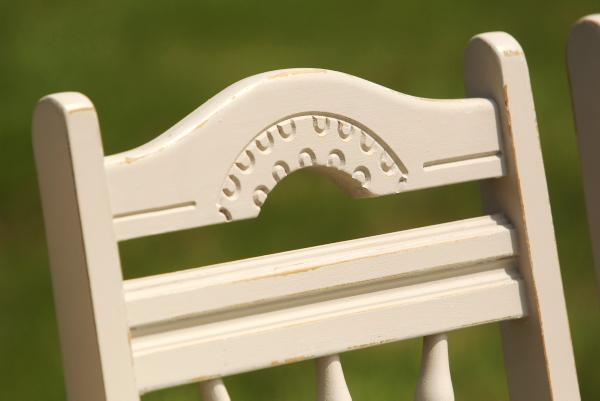 Close up of freshly repainted kitchen chair. Credit:Carol Dunne