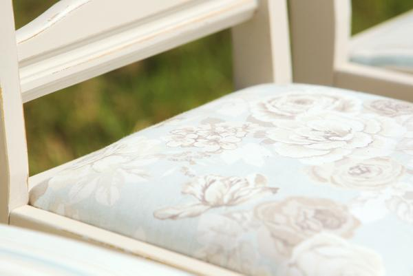 Close up detail of newly upholstered kitchen chairs. Credit: Carol Dunne.