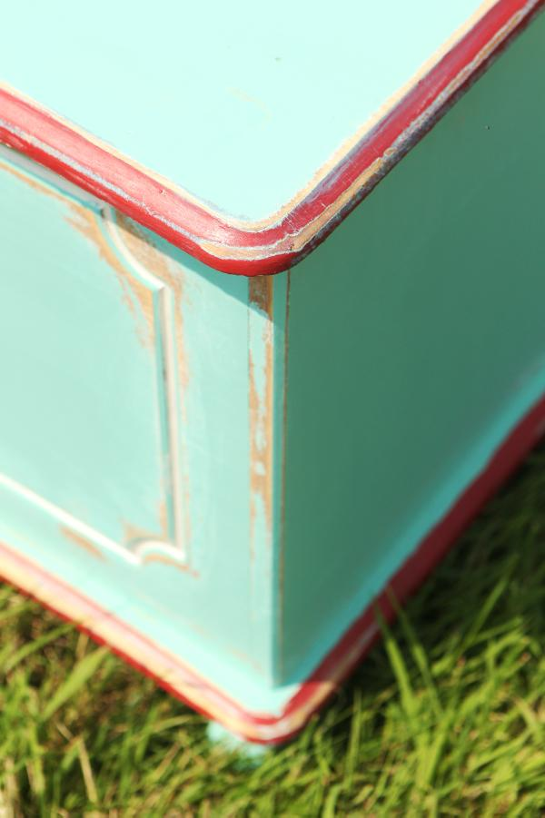 You could use another colour to paint edges on the toy box or any moulding to highlight them. Credit: Carol Dunne.