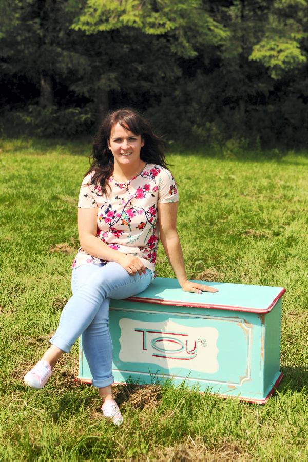 Joanne Condon of Kyle Lane with her upcycled retro style toy box. Credit: Carol Dunne.