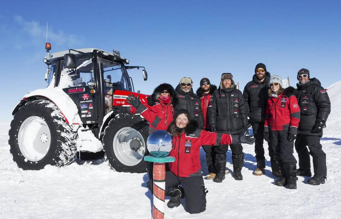 The Antarctica2 team with their Massey Ferguson at the South Pole.
