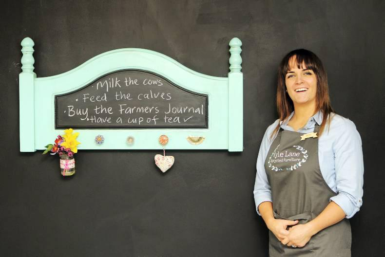 Joanne Condon of Kyle Lane with her DIY headboard-turned-kitchen organiser. Credit: Carol Dunne.