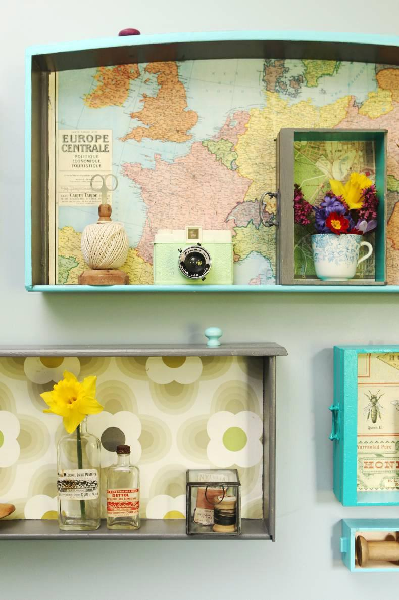 Show your personality by displaying your homewares in your very own customised shelves. Credit: Carol Dunne.