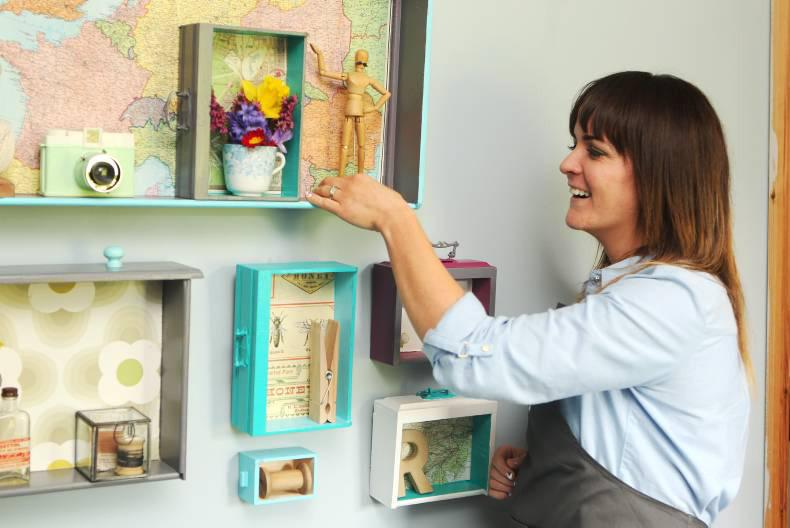 Joanne Condon of Kyle Lane showcasing her customised shelves. Credit: Carol Dunne.