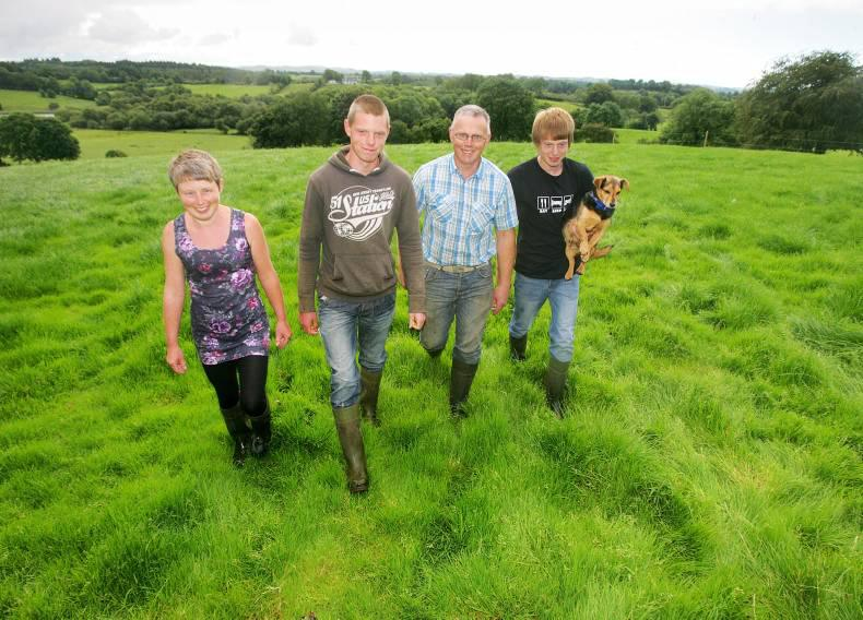 John Egerton and his family on their farm in Co Fermanagh.