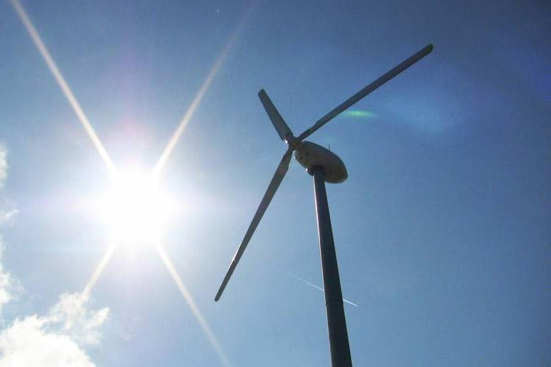 Wind turbine made by Galway-based C&F Energy on the farm of Gilbert Cosson in Brittany, France.