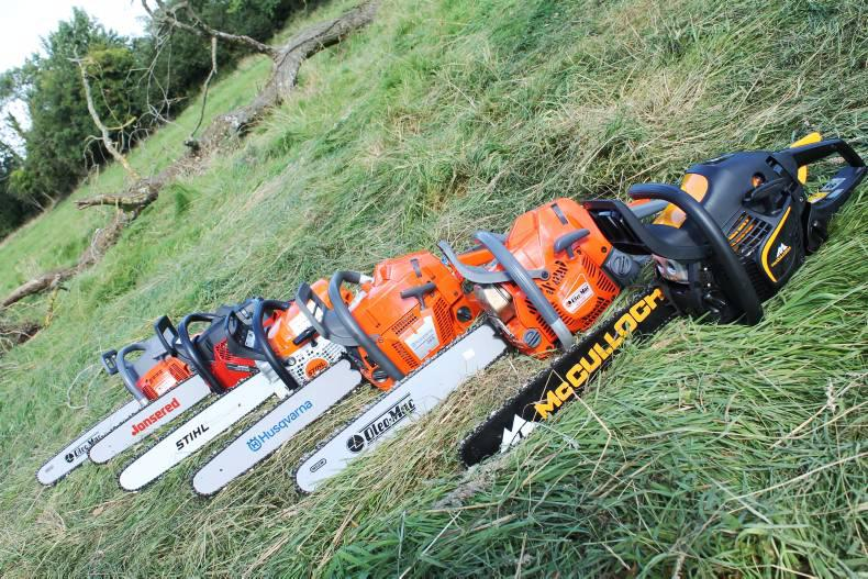 Six chainsaws lined up for the Irish Farmers Journal group chainsaw test