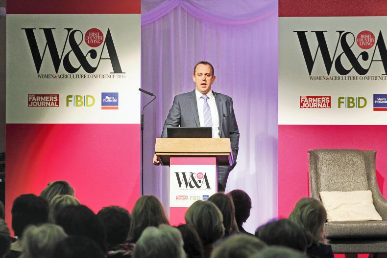 Justin McCarthy, editor Irish Farmers Journal, addresses crowd at the Women & Agriculture Conference.