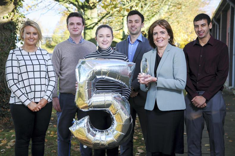 L-R Moy Park graduates Caroline Wilson, Tim Hilary, Sinead Cunningham, Conor Morgan and Ashley Majhu with Katharine Strain, Head of Talent and Organisational Development at Moy Park.
