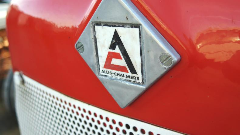 The original Allis Chalmers badge and logo on Michael O'Neill's ED40 tractor.