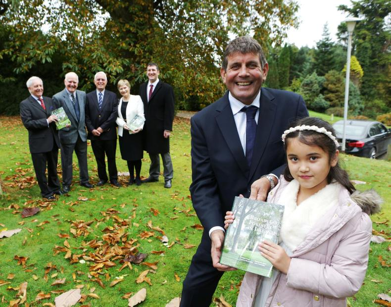 Andrew Doyle, Minister of State with responsibility for forestry recently launched Broadleaf Forestry in Ireland, at Avondale House, Rathdrum, Co Wicklow. Minister Doyle is pictured with Ciara Joyce granddaughter of Padraic Joyce (inset), one of the authors, and in the background co-authors John Fennessy, Richard MacCarthy and Jurgen Huss with Barbara and Ronan Joyce.