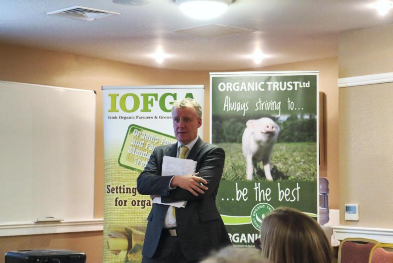 Declan Fennell, Bord Bia chair of the meeting aiming to increase the volume of organic lamb sold commanding a price premium.