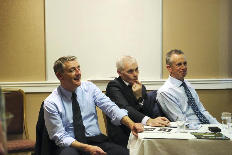 John Purcell, Good Herdsman Ltd, Kevin McKeever, DAFM and James Smith ICM at the Organic Sheep meeting in Claremorris.