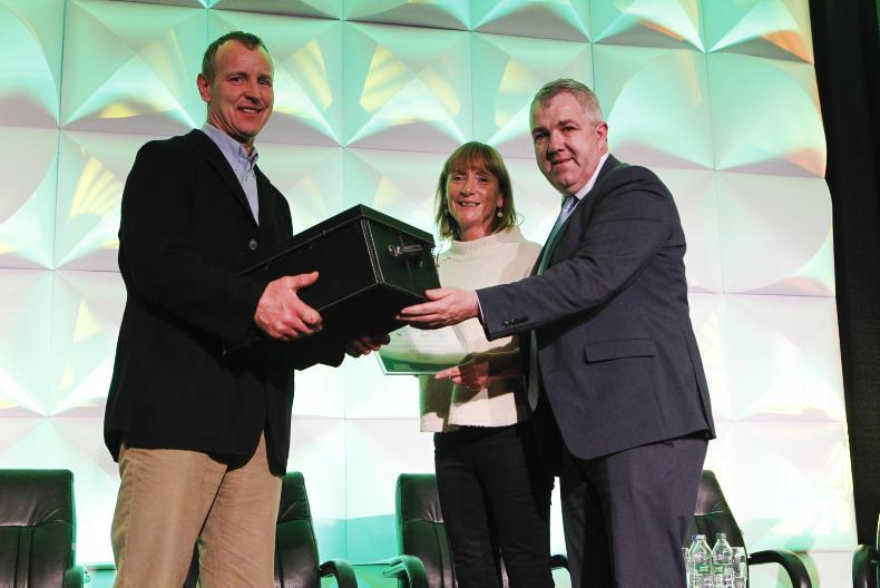 Dairygold: Matthew and Tricia Treacy of Killeagh, Cork, receiving their award from James Lynch, Chairman, Dairygold Coop.