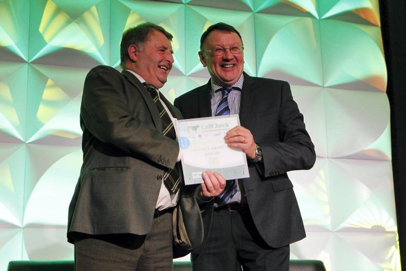 Kerry: John Shanahan, accepting the Award on behalf of John Mannix of Lixnaw, Tralee from John Collins, Kerry Agribusiness.