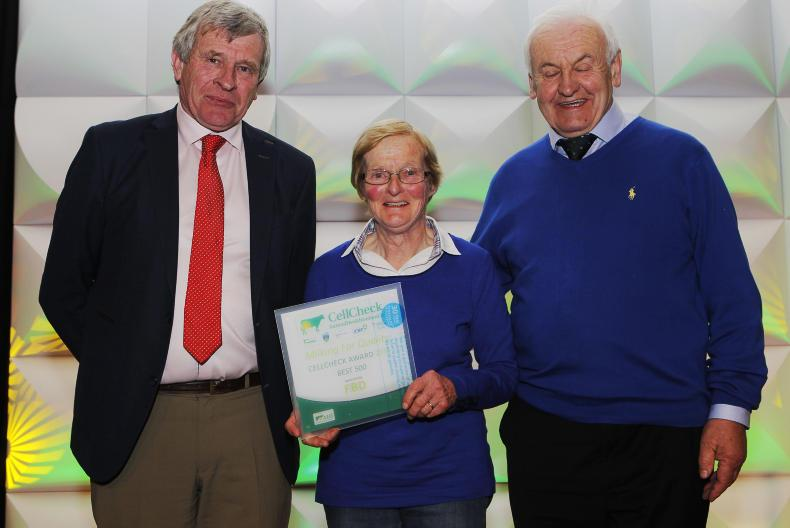 Tipperary Coop: Liam and Marian Hayes of Gortnvoher, Aherlow receiving their Award from Richard O'Donovan, Chairman, Tipperary Coop.