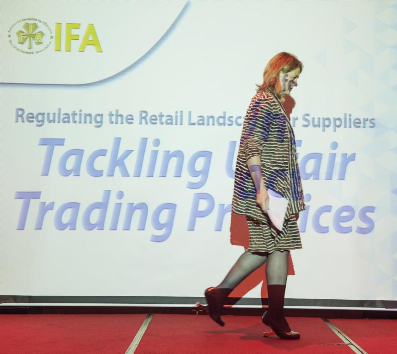 Christine Tacon, the UK groceries code adjudicator, spoke at the Retail Regulation Conference, which was hosted by the IFA in the Carlton Hotel, Dublin. Photo: BARRY CRONIN/www.barrycronin.com.
