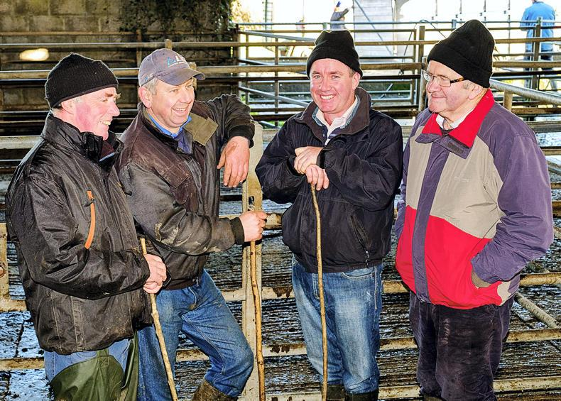 Joe McHugh, Ballinakill; David Keane and Padraigh Downey, Killimer; and Kevin Barry, Lorrha; at Portumna, Co Galway, livestock mart. \Mike Hoare