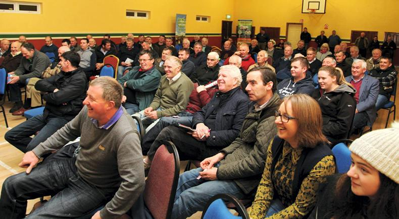A large crowd attend the South Mayo Sheep Producer Group on Monday night. The group continues to go from strength to strength and has now increased to 190 members.