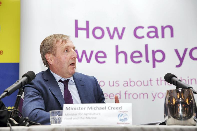 Minister for Agriculture, Food and the Marine, Michael Creed, speaking during last week's Carrigaline Macra na Feirme annual agricultural conference . Photo: Donal O' Leary