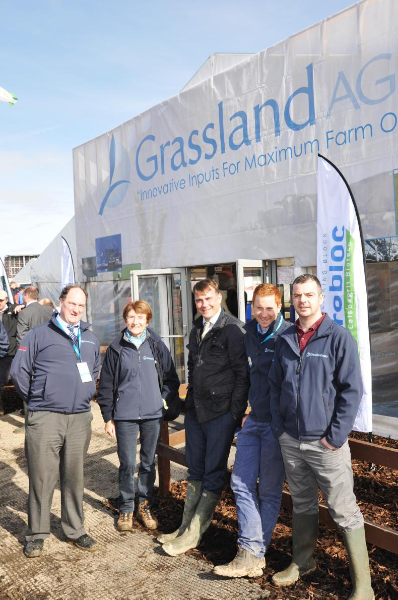 Staff from across the company enjoy meeting colleagues and customers at the Ploughing Championships (L-R: Joe Morrissey (dairy hygiene adviser), Jacqueline Le Coze (sales admin), Kieran McDonnell, Brian White and James Freeman (sales managers).