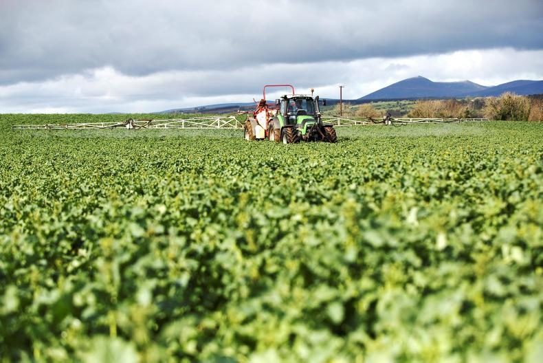 John Collins, Farm Manager, Cappoquin Estate, Cappoquin, Co. Waterford spraying a crop of Winter oilseed rape for light leaf spot. Photo: Donal O' Leary
