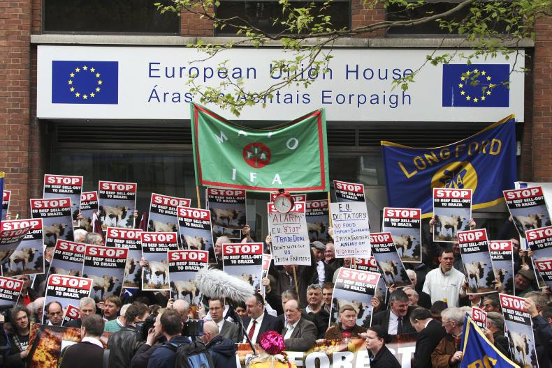 An IFA protest against a planned Brazilian beef imports deal at the EU Commission Office in Dublin in 2010.