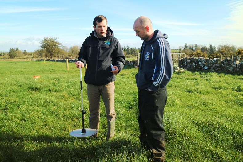 BETTER adviser John Greaney gives Padraig O'Connor a lesson in grass measuring.