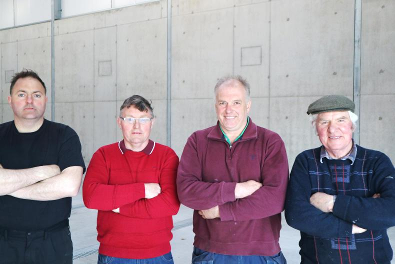 David King, Gerard King, John Hobson and Gerry King in John Hobson's new grain store in Warrenstown, Co Meath.