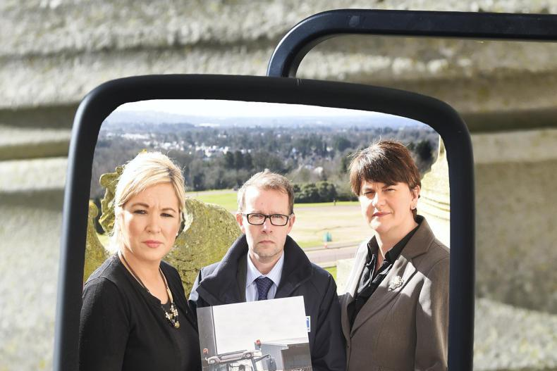 Arlene Foster (on right) and Michelle O'Neill (on the left)  were the Health and  Safety and Agriculture Minister respectively back in 2015, here pictured at a farm safety launch with HSENI Chief Executive Keith Morrison. Now they lead the two main parties in Northern Ireland's assembly, and must negotiate a devolved power-sharing administration while conducting a general election campaign.