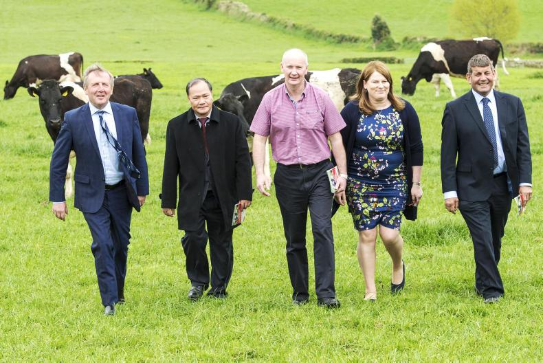 Minister for Agriculture Michael Creed, Vietnamese deputy Minister for Agriculture and Rural Development Hoang van Thang, Clement and Eileen Twomey and Minister of State Andrew Doyle. \ Fergal O'Gorman