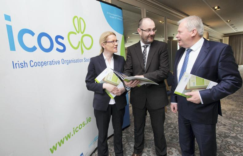 From left: Sinead Farrell, ICOS financial controller; TJ Flanagan, ICOS chief executive; and ICOS president Martin Keane at the ICOS AGM in Portlaoise. \ Alf Harvey/HRPhoto.ie