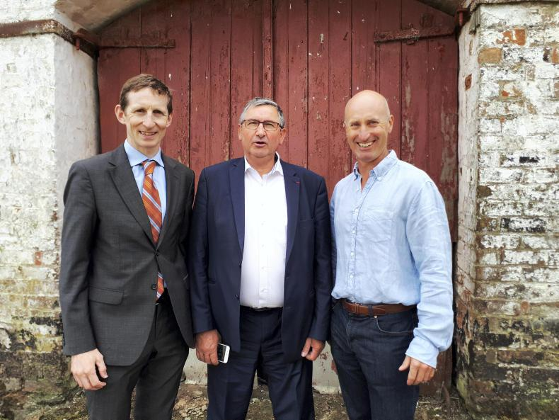 Jean-Pierre Fleury (centre), chair of the COPA-COGECA beef working party, visits the farm of IFA livestock chair Angus Woods (right) in Co Wicklow with IFA director of European Affairs Liam MacHale (left).
