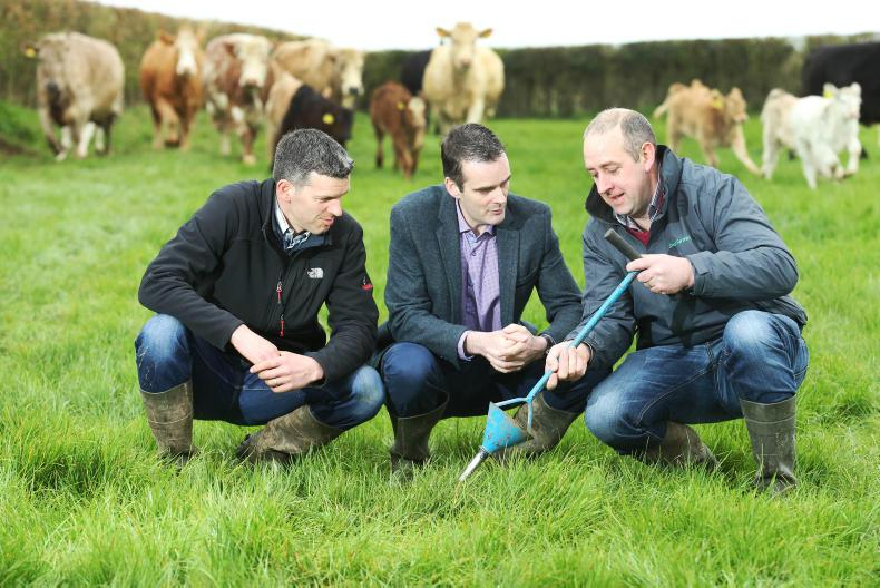 Smart Farming 2017 kicks off on William Cassidy's farm in Maganey County Carlow (l-r) William Cassidy; IFA President Joe Healy; and, Thomas Cooney, IFA Environment Chairman
