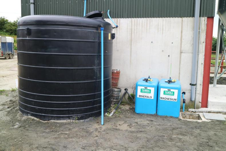 10,000 litre water storage tank and Terra Services minerals for the injection system.