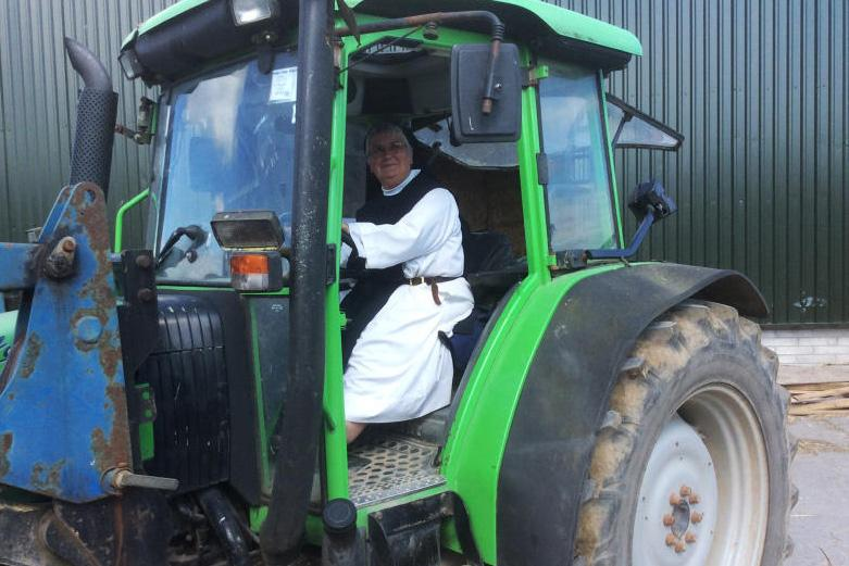 Sister Lily, farm manager at Glencairn Abbey, has joined the all-female silage crew who will mow, rake, draw and pit silage at Mount Melleray on 19 August in aid of the Alzheimer's Society.