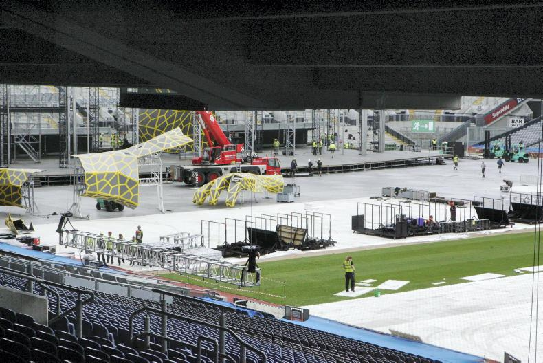 Preparing the pitch for a concert at Croke Park.