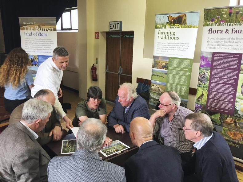Farmers take part in a meeting on the future of the Burren programme in Kilfenora on Thursday.