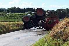 Lucky escape for driver of overturned tractor