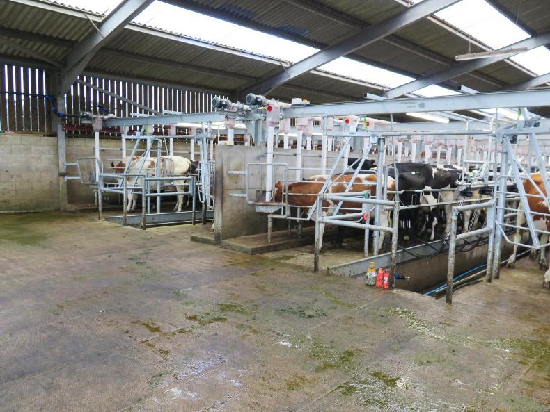 The two milking parlours side by side