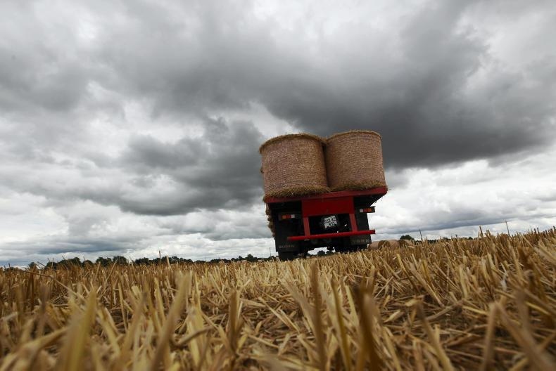 Nine-year-old Liam Berney and his dad Pat, a suckler and tillage farmer, collecting bales of straw before the rain at Cloneybeg, Nurney, Co Kildare. / Ramona Farrelly.