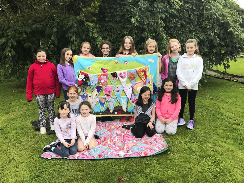 The group from Aideen Cross's Creative Sewing class who took third prize with their