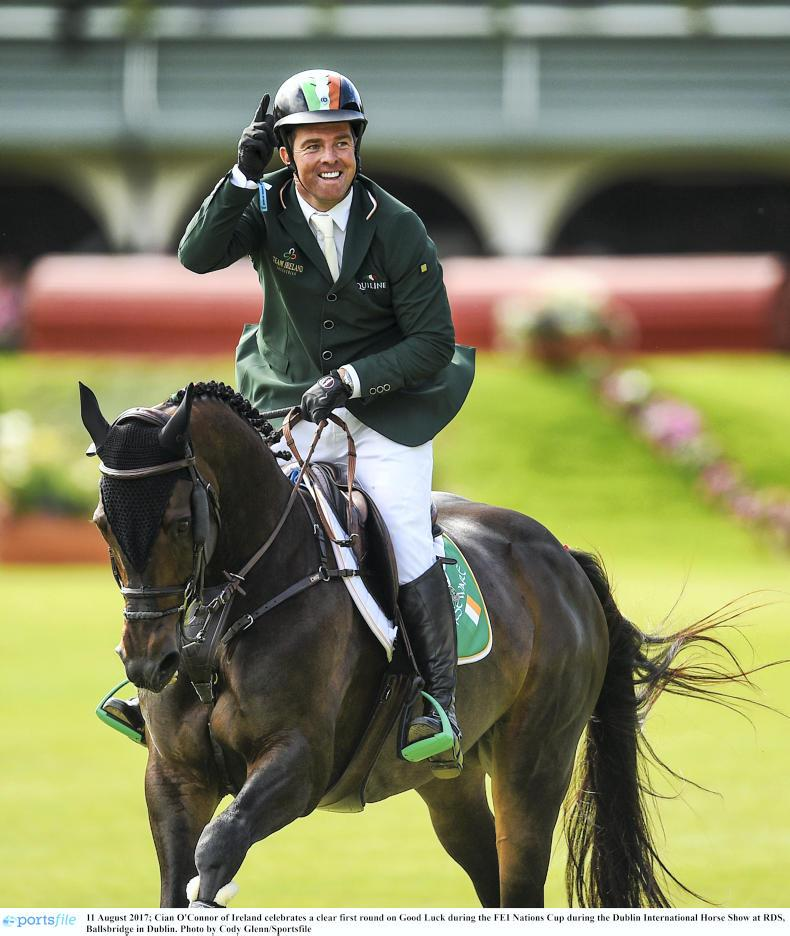 Cian O'Connor is now the highest-placed Irish rider on the latest Longines World Show Jumping Rankings, climbing six places to No 19, and the only Irish rider in the top 100 with a permanent Irish base Photo: Cody Glenn/Sportsfile