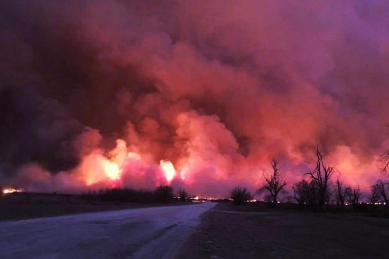 Wildfires burning across the states of Texas, Oklahoma and Kansas earlier this year destroyed up to a million acres and killed hundreds, if not thousands, of cattle. \ Andrea Daniel/Graham & Sons Cattle Company