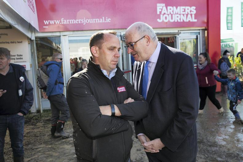 European Agriculture Commissioner Phil Hogan (right) with Irish Farmers Journal editor Justin McCarthy on the Irish Farmers Journal stand at the National Ploughing Championships. \ Donal O'Leary