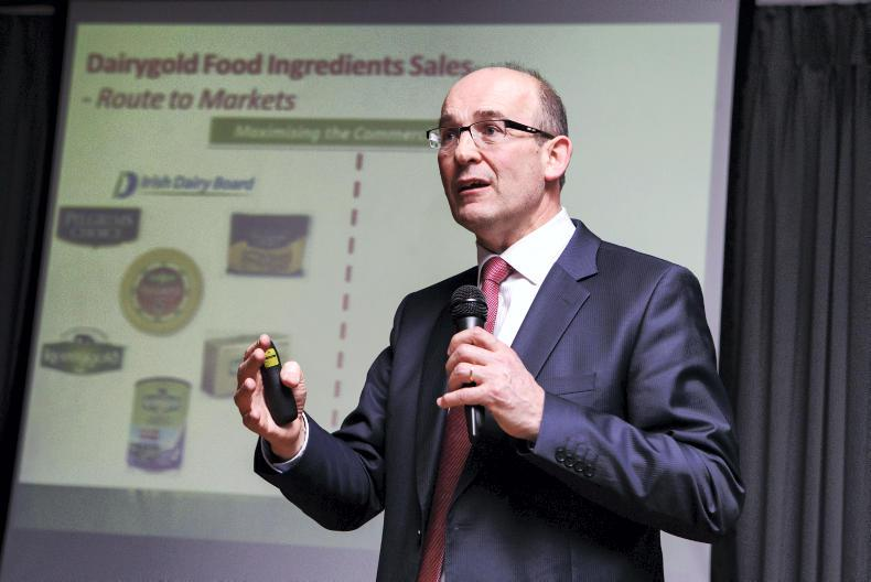 Dairygold CEO Jim Woulfe speaking in Cork at the IFA Seminar titled 'A Framework For Dairy Growth'. Photo: Donal O' Leary