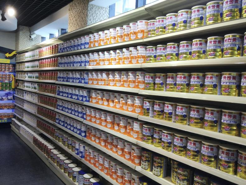 Infant formula on the shelves in China.