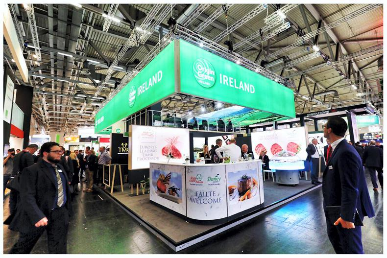 The Bord Bia Origin Green stand in the meat hall at Anuga 2017.
