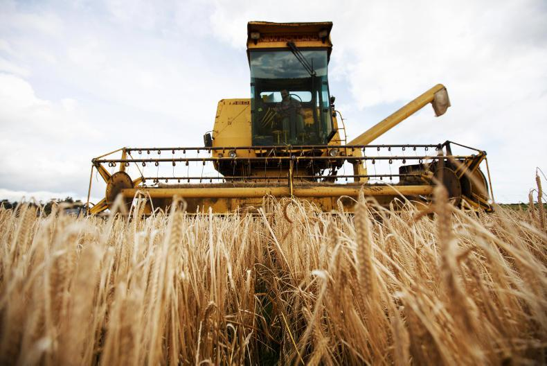 Finbarr O'Donovan of Donovan Bros is pictured harvesting the last of his spring barley at Knockbrown, Bandon, Co Cork. \ Donal O'Leary